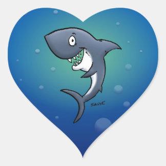Pegatina En Forma De Corazón Tiburón divertido sonriente en fondo azul