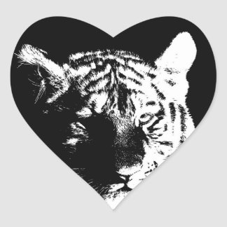 Pegatina En Forma De Corazón Tigre negro y blanco del arte pop