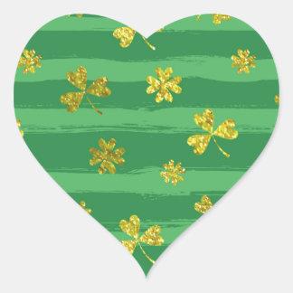 Pegatina En Forma De Corazón tréboles de oro de los patricks del st