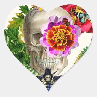 Pegatina En Forma De Corazón Tropical Skull
