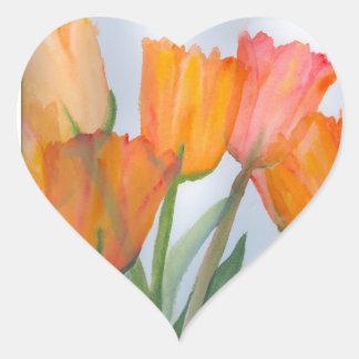 Pegatina En Forma De Corazón Tulipanes anaranjados de la fruta cítrica