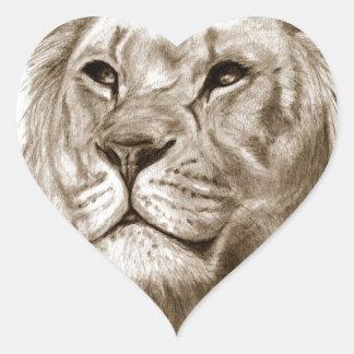 Pegatina En Forma De Corazón Un león - sin arte del bosquejo del dibujo del