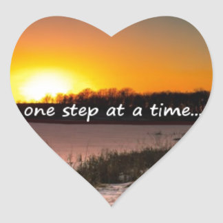 Pegatina En Forma De Corazón Un paso a la vez