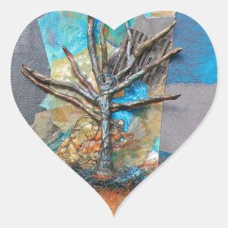 Pegatina En Forma De Corazón Una colina del árbol