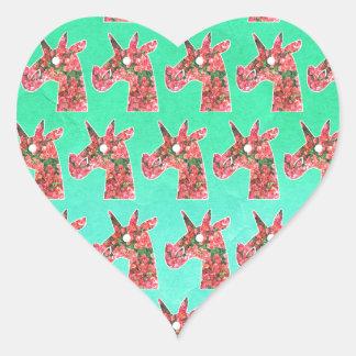 Pegatina En Forma De Corazón Unicornio del Bougainvillea