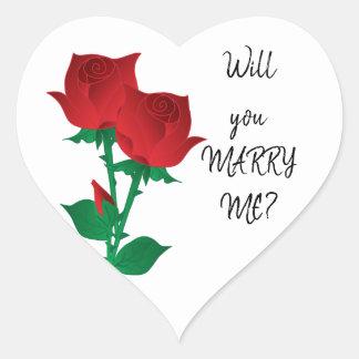 Pegatina En Forma De Corazón ¿Usted me casará? rosas rojos del |