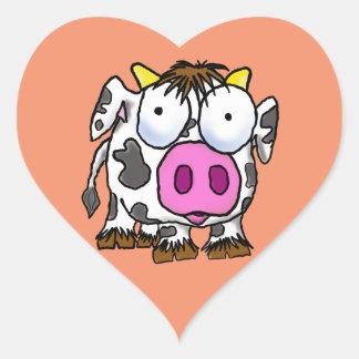 Pegatina En Forma De Corazón Vaca linda del dibujo animado