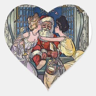 Pegatina En Forma De Corazón Vintage Papá Noel