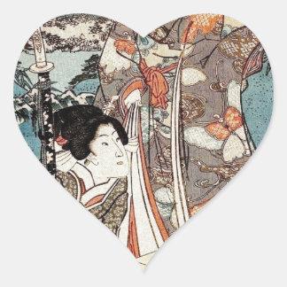 Pegatina En Forma De Corazón Voluta vieja del vintage del geisha japonés del