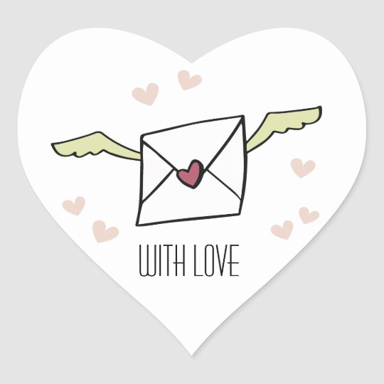 "Pegatina En Forma De Corazón ""With Love"" flying envelope with wings and hearts"