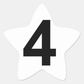 Pegatina En Forma De Estrella 4 - número cuatro