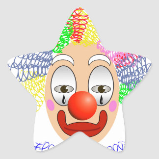 Pegatina En Forma De Estrella 97Clown Head_rasterized