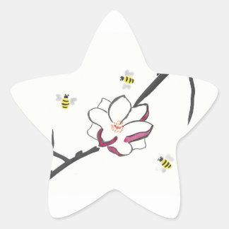 Pegatina En Forma De Estrella Abejas de la magnolia y de la miel