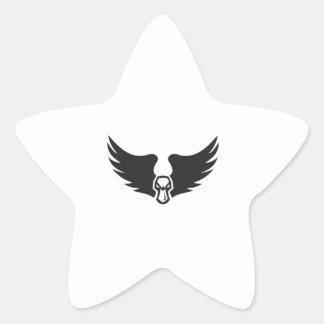 Pegatina En Forma De Estrella Alas enojadas de Duck Head del pato silvestre
