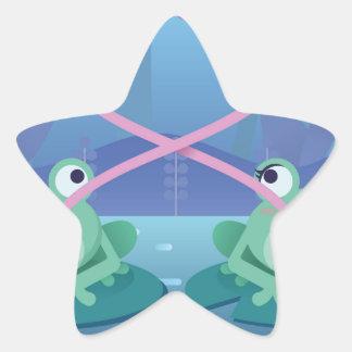 Pegatina En Forma De Estrella amantes de la rana del día de San Valentín