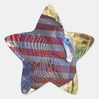 Pegatina En Forma De Estrella Amercan Turquía salvaje