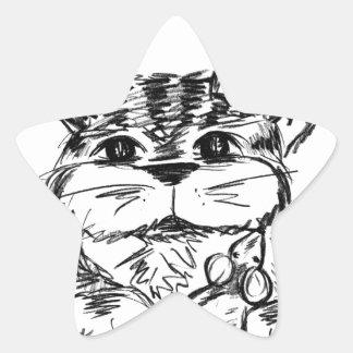 Pegatina En Forma De Estrella Amigos inverosímiles gato y ratón