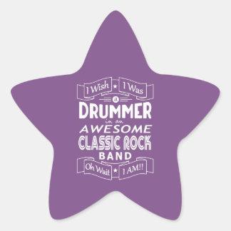 Pegatina En Forma De Estrella Banda de rock clásica impresionante del BATERÍA