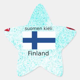 Pegatina En Forma De Estrella Bandera de Finlandia y diseño finlandés de la