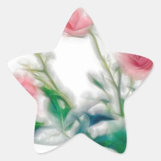 Pegatina En Forma De Estrella Bosquejo del ramo color de rosa