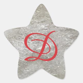 Pegatina En Forma De Estrella Brillo de marfil del monograma