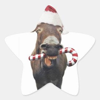 Pegatina En Forma De Estrella Burro del navidad - burro de santa - burro santa