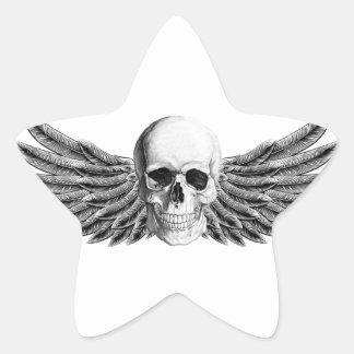Pegatina En Forma De Estrella calavera1-alada