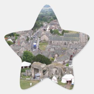 Pegatina En Forma De Estrella Castillo de Corfe, Dorset, Inglaterra
