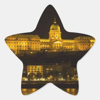 Pegatina En Forma De Estrella Castillo Hungría Budapest de Buda en la noche