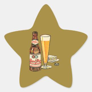 Pegatina En Forma De Estrella Cerveza de cerveza dorada premiada magnífica