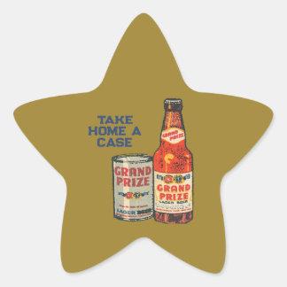 Pegatina En Forma De Estrella Cerveza de cerveza dorada premiada magnífica para
