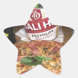 Pegatina En Forma De Estrella Cerveza y pizza de Bali