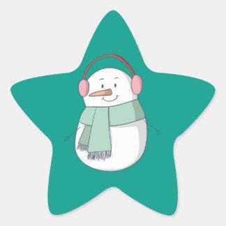 Pegatina En Forma De Estrella Chica del muñeco de nieve