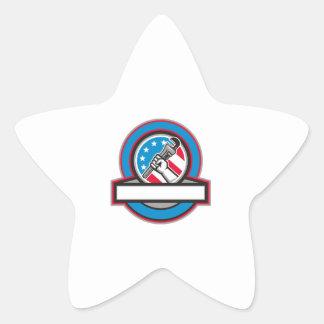 Pegatina En Forma De Estrella Círculo de la bandera de los E.E.U.U. de la llave