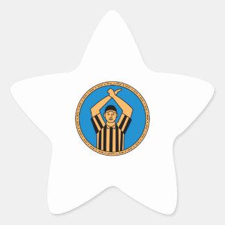 Pegatina En Forma De Estrella Círculo mono L de la señal de mano del árbitro del