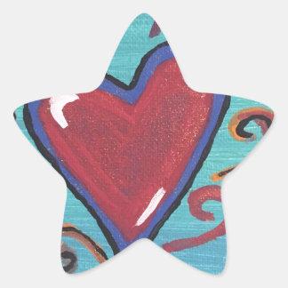 Pegatina En Forma De Estrella Colección roja de los corazones