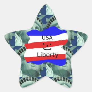 Pegatina En Forma De Estrella Colores de la bandera de los E.E.U.U. con la