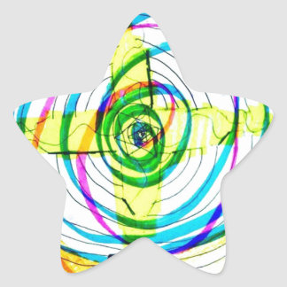 Pegatina En Forma De Estrella Cruces de Cartoids del fractal y la banda espiral