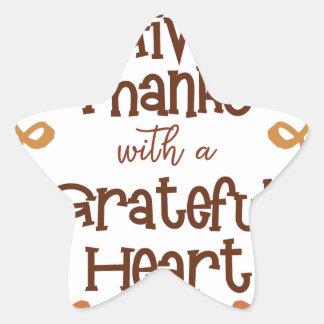 Pegatina En Forma De Estrella Dé las gracias con un corazón agradecido