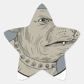 Pegatina En Forma De Estrella Dibujo agresivo de la cabeza de perro guardián de