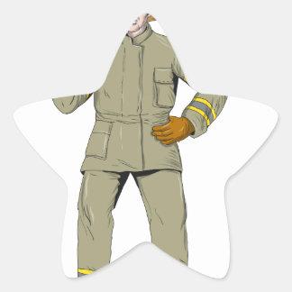 Pegatina En Forma De Estrella Dibujo americano del hacha del fuego del bombero