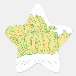 Pegatina En Forma De Estrella Dibujo de la cebolla del pimiento de Brocolli