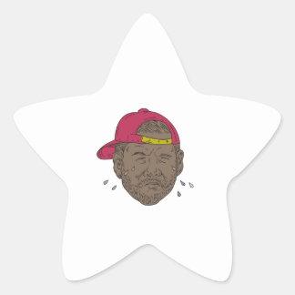 Pegatina En Forma De Estrella Dibujo gritador del golpeador afroamericano
