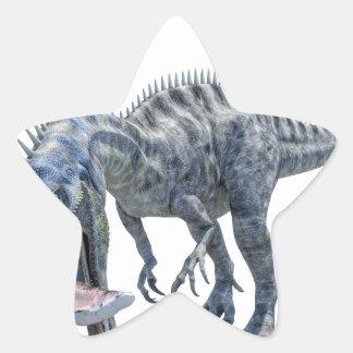 Pegatina En Forma De Estrella Dinosaurio de Suchomimus que come un tiburón
