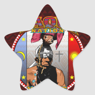Pegatina En Forma De Estrella Diseño del bailarín de los ciervos de Yaqui Yoeme