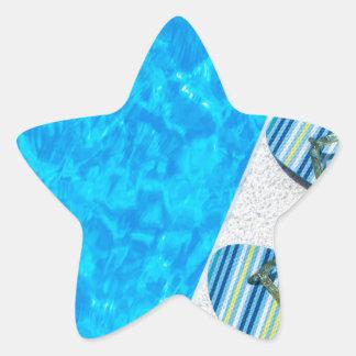 Pegatina En Forma De Estrella Dos deslizadores de baño en el borde de la piscina