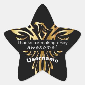 Pegatina En Forma De Estrella EBay personalizado que empaqueta el oro Phoenix
