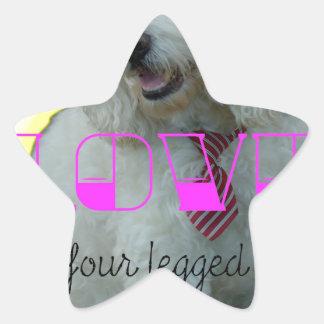 Pegatina En Forma De Estrella El amor es una palabra legged cuatro