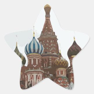 Pegatina En Forma De Estrella El cathedral_russo de la albahaca del santo