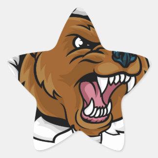 Pegatina En Forma De Estrella El fondo enojado de la mascota del oso agarra
